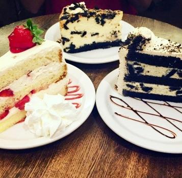 Strawberry shortcake (left), Oreo cheesecake (middle), Oreo mousse (right)